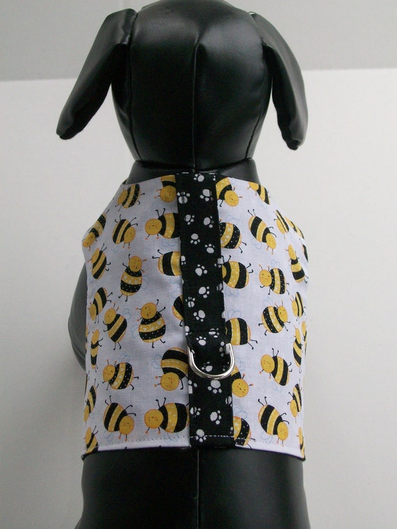 Bumble Bee & Paw Print Yellow and Black/White   Dachshund  Dog Harness Vest Custom Made