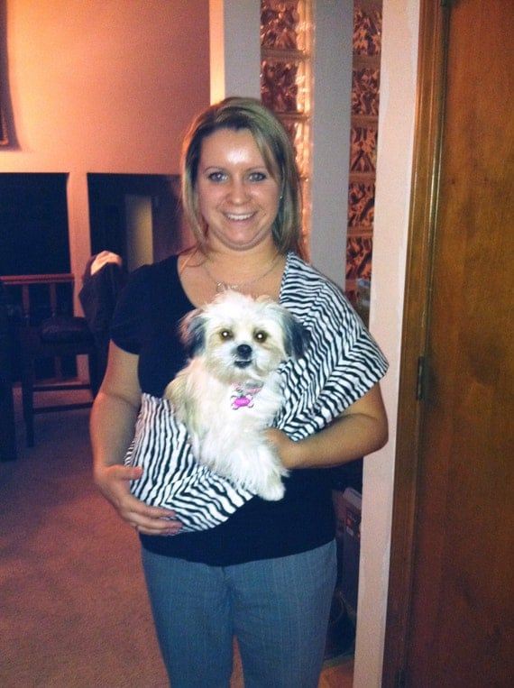 Pet  Sling Carrier  and Matching Collar Special Ready to Ship Size Small