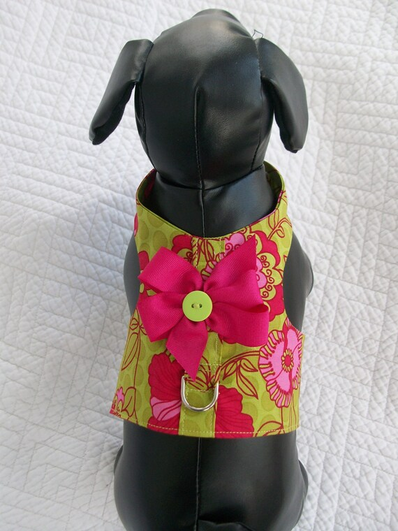 High Cut Harness Green and Hot Pink Flowers Custom Made