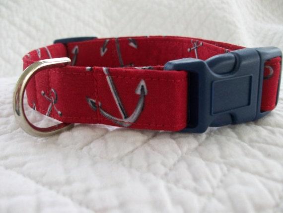 Anchors Nautical Sailor  Dog Collar Custom Made