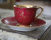 vintage deep red demi teacup and saucer yada china