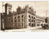 Canadian Pacific Railway Station Montreal Quebec Black And White Vinage Postcard Unused