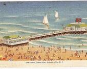 Vintage Postcard Heinz Ocean Pier Atlantic City NJ - Beach Swimming Sailboats Unused