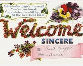 Sincere Welcome With Pansies 1911 Vintage Victorian Postcard Embossed