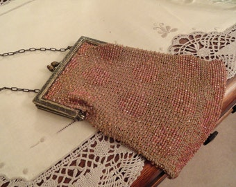 Art Deco BEADED PURSE Pink Beaded Bag Sterling Frame Flapper Style