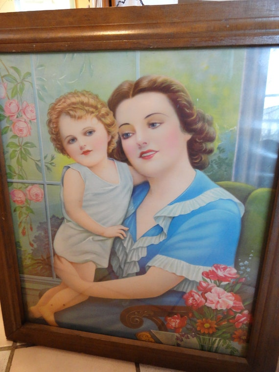 Reserved for Marline 1940s MADONNA and Child  with Roses Catholic Art