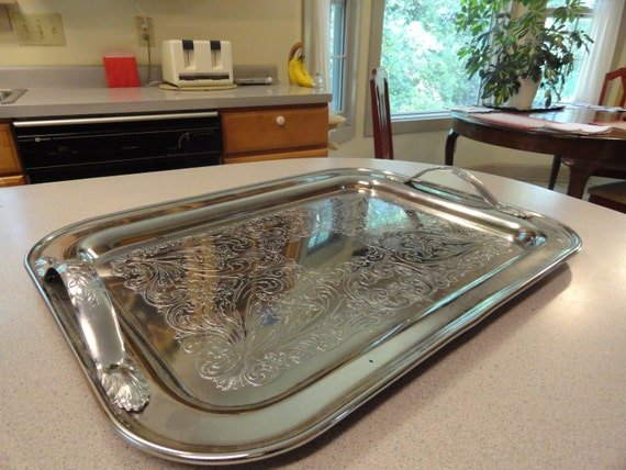 SILVER CHROME Handled Serving Tray Breakfast in Bed