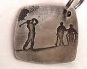 The Golfer Silver Key Fob - Personalized on back- Reserved for Charity