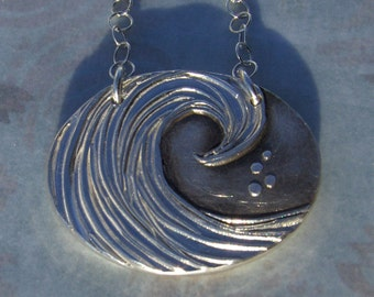 Secret Message Wave Silver Necklace- or key fob - Knowing Wave- Made to Order