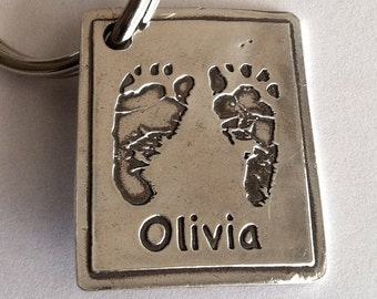 Turn Your Child's Handprints or Footprints into a Keychain with one name on front -Made to Order