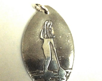 Paddleboarder's Silver Pendant -  SUP Jewelry -Stand up Paddleboard Female version -Made to Order