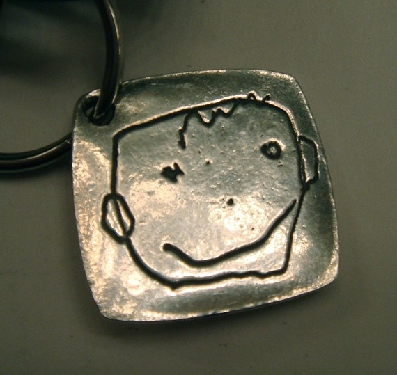 Father's Day - Your Childs Artwork Made into Solid Silver Keychain or PENDANT-As Featured in ETSY FINDS - made to order-click to see more