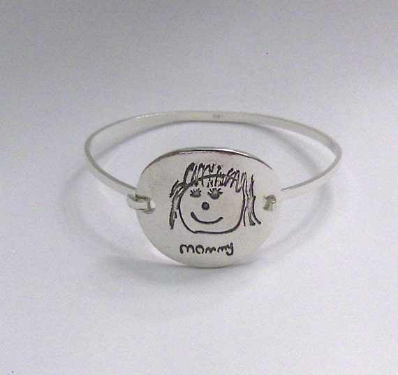 Your Child's Drawing made into a Mommy Silver Bracelet - Made to Order by Surfingsilver