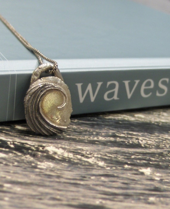 Rustic Silver Surfer's Wave Pendant Necklace-with options - As Featured in Etsystalker-Made to Order