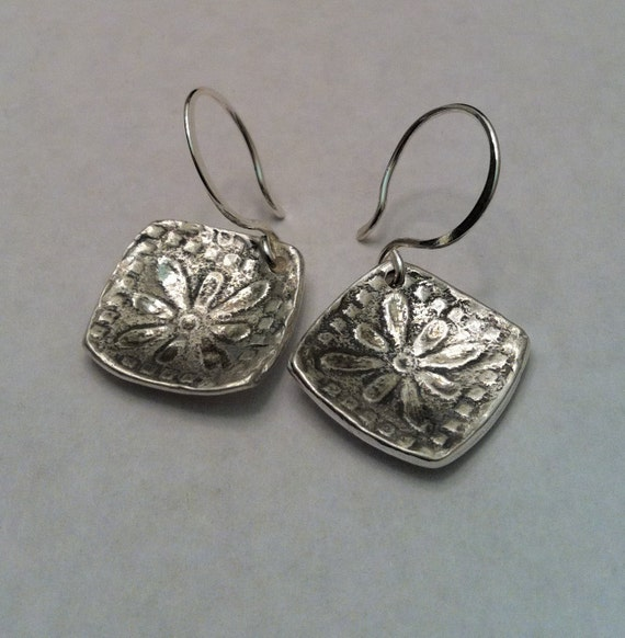 Rustic Fine Silver Dapped Tile Earrings - Choose your wires pierced or cilp on -Made to order