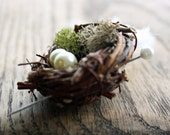 LOVE NEST BOUTONNIERE . Bird nest, moss, feather and pearl boutonniere
