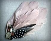 AUBREY Fascinator in Blush Pink with Vintage Rhinestones
