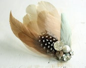 CHELSEA Fascinator in Mint, Blush & Ivory with Vintage Rhinestones and Vintage Buttons