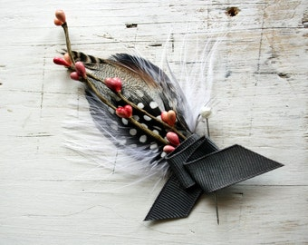 THOMAS Boutonniere in Charcoal, White and Pink with Grey Ribbon Wrap