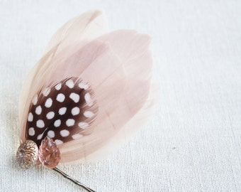 INES Fascinator in Blush with Vintage Gold and Blush Buttons