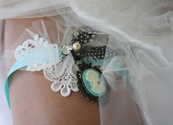 AINSLEY Garter in Tiffany Blue with Vintage Venise Lace, Dotted Guinea Hen Feathers and Vintage Rhinestones