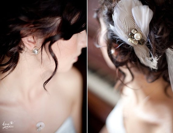 EDIE Feather Bridal Fascinator in Lightest Ivory with Vintage Rhinestones and Pearls