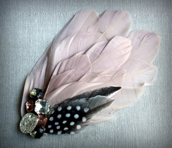 AUBREY Fascinator in Blush Pink with Vintage Rhinestones