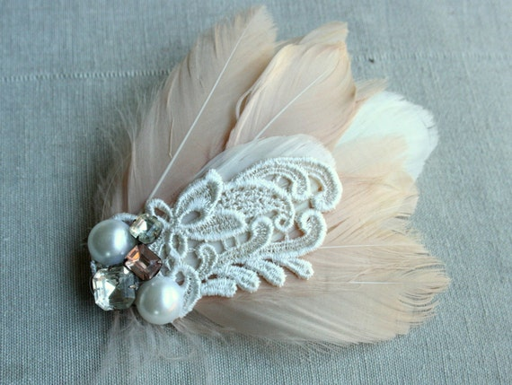 Peche et Creme Fascinator in Peach with Vintage Lace, Rhinestones and Pearls