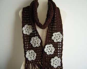 Crochet Brown Scarf with Oatmeal Flowers