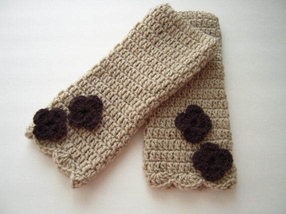 Wheat Color with Flowers, Fingerless Glove, Wrist Warmers