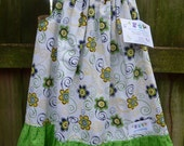 OOAK Spring Flowers in Green and Yellow Pillowcase Dress  6-12 months  mySnicklefritz