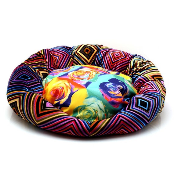 D Lightful Digs Luxury Cat Bed from Decadent Digs, Exclusively for Moderncat Studio (Psychedelic Rainbow) FREE SHIPPING TO US ADDRESSES