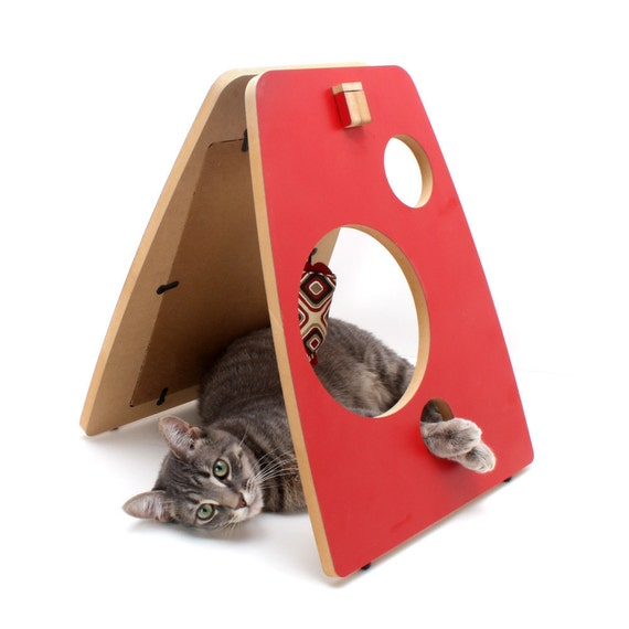 A frame modern cat scratcher and play station red laminate - Modern cat scratcher ...