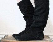 Vintage 80's Black Suede Leather Knee High Slouch Boots Sz 9 - Urban Hipster