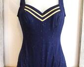 Vintage Nautical Sailorette Swimsuit Sz S