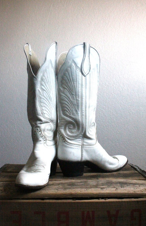 Vintage 70's Rustic White Leather Knee High Cowboy Boots Sz 6.5