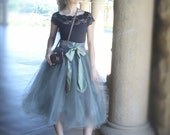 Tulle skirt for women--deep grey adult tutu lined in black satin with black satin waist. TutusChic Originals since 2009