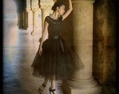 Black tulle skirt tutu for women.  Lined with black satin and a black satin ribbon waist.