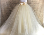 Girls tutu. Extra long unlined Flower Girl  tutu. Classic Elegance. Your color choice for a girls tulle skirt.