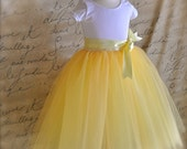 Sunshine yellow tutu for girls. Six layers of butter yellow, lemon yellow and ivory tulle is sewn. Flower Girls and portrait tutu skirt.