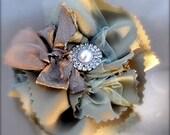 Tea at the Ritz. Green tea satin and cocoa silk ribbon. A romantic hair clip or pin.