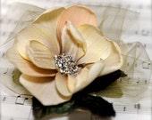 Soft neutral magnolia hair clip. Victorian style rhinestone center and vintage velvet leaves.