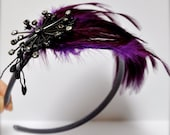 Xmas Sale--Holiday purple headband-jeweled purple feathers. A chic classic with starburst spray of lavender and grey rhinestones.