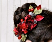Holiday red flower comb with sage green velvet leaves and frosted floral balls. Women, teens or girls. Ballerina look.