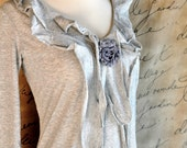 Romantic Poet Long Sleeved Tee in cream, pale pink, heather grey and indigo blue---  shabby chic blossom and ruffles. Ready to ship.