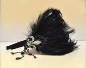 Romantic black feather rhinestone headband fascinator.