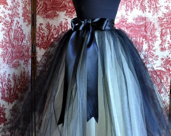Black and ivory lined tulle skirt for women. Bridesmaid skirt, engagement shoot, adult black tutu, tea length formal skirt. TutusChic