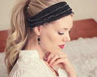 Ruffle headband in grey, zebra, purple, mocha, black,  pink, teal, ivory, yellow or grey blue stretch headband. Shabby chic classic headband