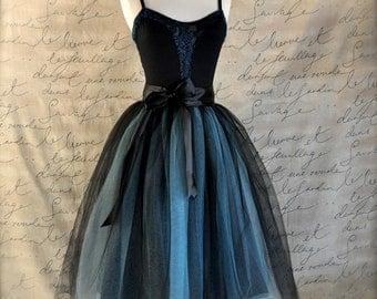 Tulle skirt for women in black and aqua blue.  Adult tutu skirt High waisted skirt TutusChic