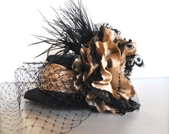 Steampunk hat in cappuccino and black lace and satin. Très chic Edwardian and feminine glamour. Weddings, photo prop.